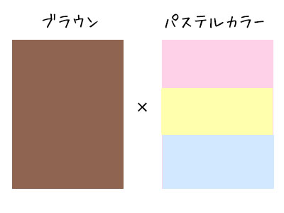 ブラウン×パステルカラー