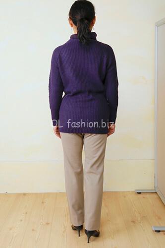 doclasseカシミア混アシメリブ編みセーター